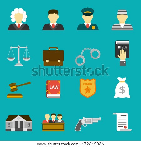 Law and justice flat icons set