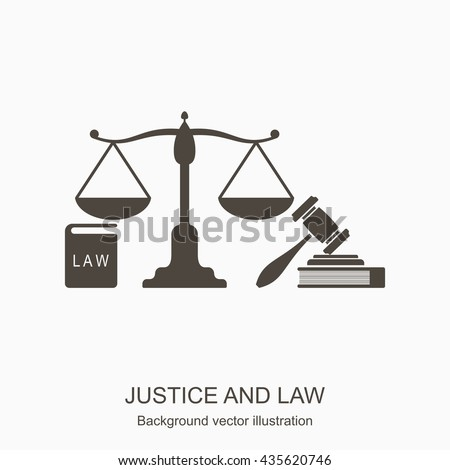Law and justice icons. Scales of justice, gavel and books n flat style. Concept justice and law icon isolated on gray background. Vector - stock vector