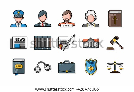 Law and justice icons set,eps10