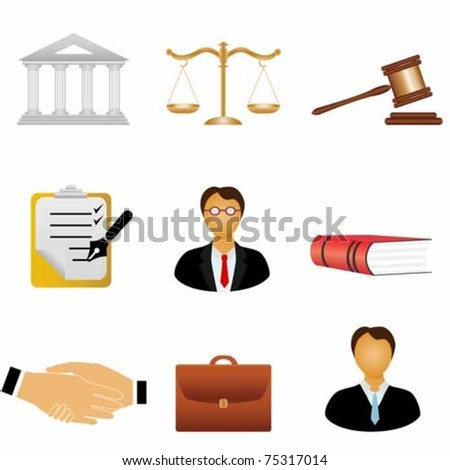 Law and justice related symbols - stock vector