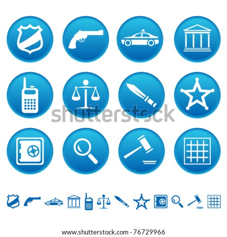 Law and order icons - stock vector