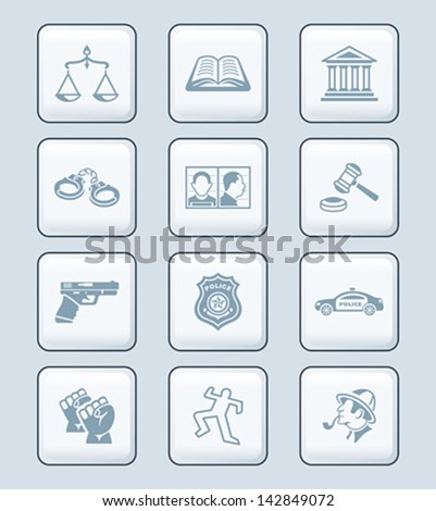 Law and order related objects and persons icon-set - stock vector