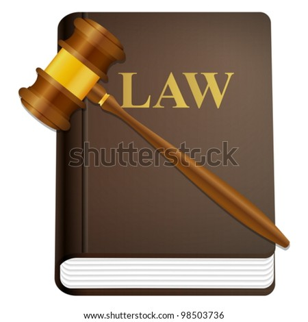 Law book and gavel on a white background.