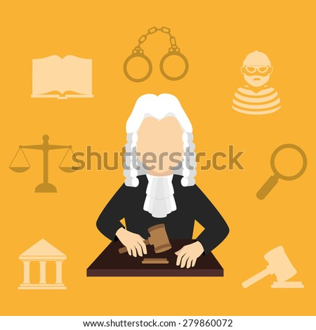 Law design over yellow background, vector illustration. - stock vector