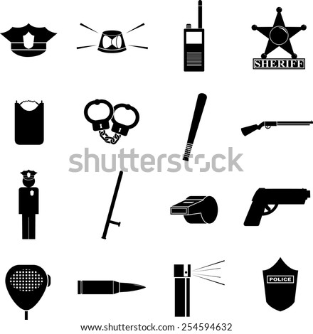 law enforcement symbols set - stock vector