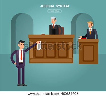 Law horizontal banner set with judical system elements and Vector detailed character the judge and the lawyer, cool flat  illustration isolated vector - stock vector
