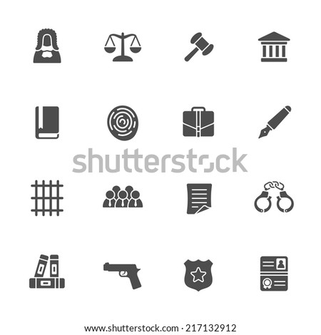 Law icon set - stock vector