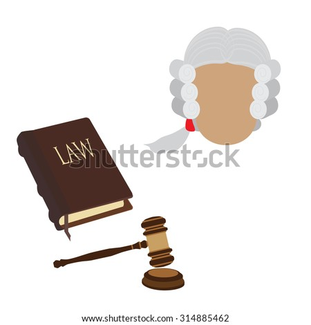 Law icon set with judge character in old wig, gavel and law book. Law and judgment legal justice icon flat collection - stock vector