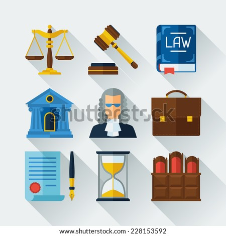 Law icons set in flat design style. - stock vector