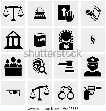 law icons set on gray - stock vector