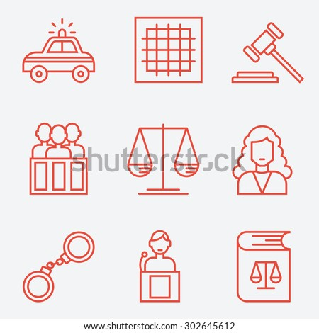 Law icons, thin line style, flat design - stock vector