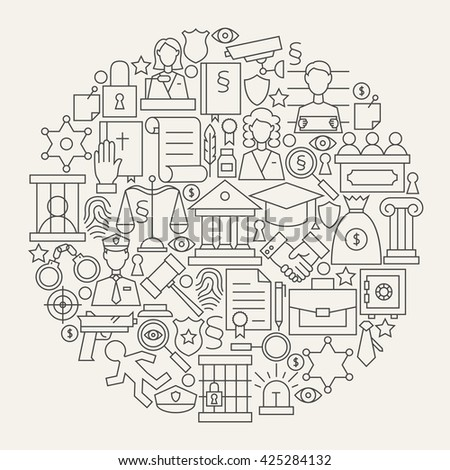 law justice and crime line icons set circle shape vector illustration of modern attorney and