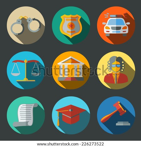 Law (justice) flat icons set on round plates with long shadows, with - scales, hammer, court house, judge, police badge, handcuffs, lawyer cap, police car, sentence document. - stock vector