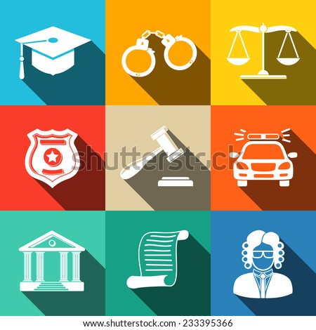 Law (justice) flat icons set on square plates with long shadows, with - scales, hammer, court house, judge, police badge, handcuffs, lawyer cap, police car, sentence document. - stock vector