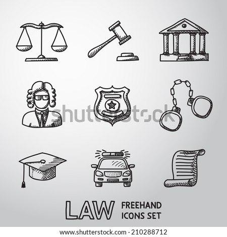 Law (justice) freehand icons set with - scales, hammer, court house, judge, police badge, handcuffs, lawyer cap, police car, sentence document. - stock vector