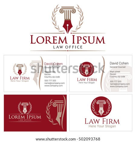 Law logo column wreath golden colors stock vector for Firm company