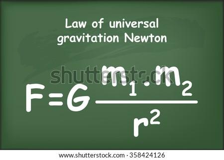 Law of universal gravitation Newton on chalkboard vector - stock vector