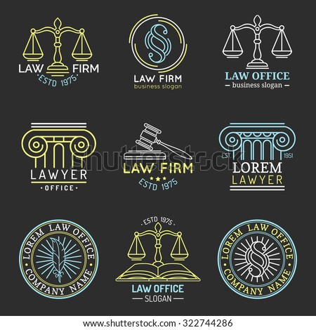 Law office logo set. Vector vintage lawyer logotypes collection. Juridical firm labels and badges. Jurist icon templates. Act, principle symbols. Attorney signs. Legal concepts.