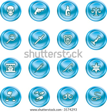 law, order, police and crime icon set.  A series of design elements or icons relating to law, order, police and crime. - stock vector