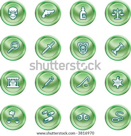 law, order, police and crime icon set A series of design elements or icons relating to law, order, police and crime. - stock vector