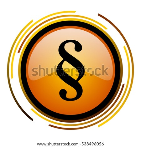 Law paragraph sign vector icon. Modern design round orange button isolated on white square background for web and application designers in eps10.
