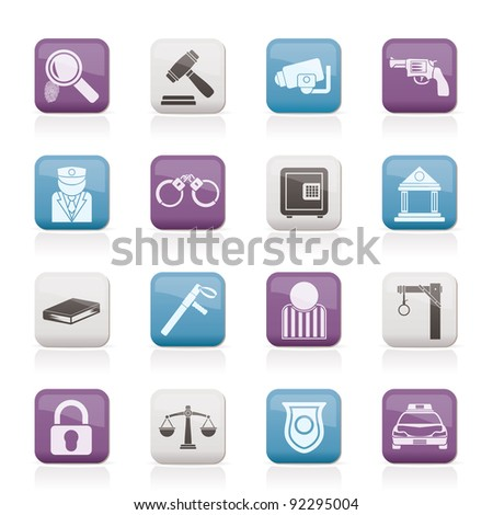 Law, Police and Crime icons - vector icon set - stock vector
