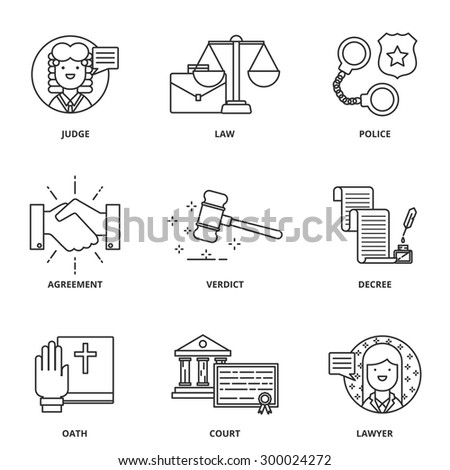 Law vector icons set modern line style - stock vector