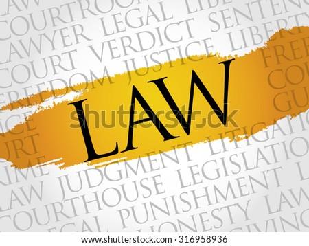 Law word cloud concept - stock vector