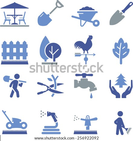 Lawn care and landscaping icon set.  - stock vector