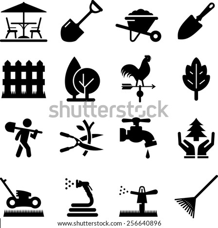 Lawn care and landscaping icon set. Vector icons for digital and print projects. - stock vector