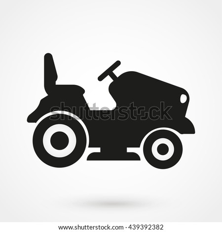 lawn mower logo. lawn tractor icon isolated on background. modern flat pictogram, business, marketing, internet mower logo