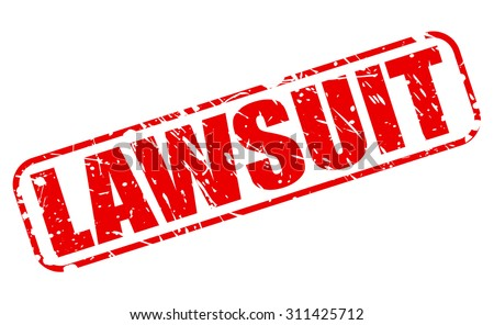 LAWSUIT red stamp text on white - stock vector