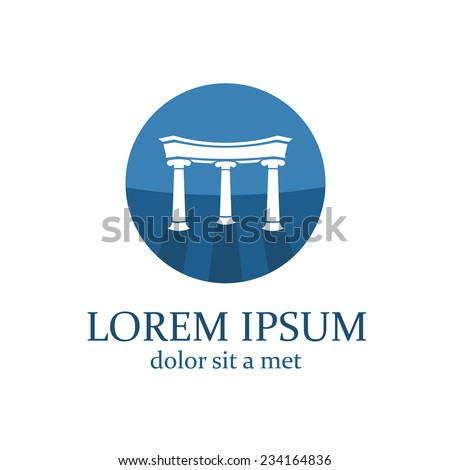 Lawyer logo template. Architecture elements with columns. - stock vector