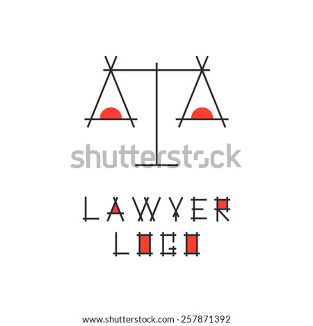 lawyer logotype with abstract scales. concept of judging, law firm, legal company, jurisprudence, legist, verdict. isolated on white background. flat style modern brand design vector illustration - stock vector