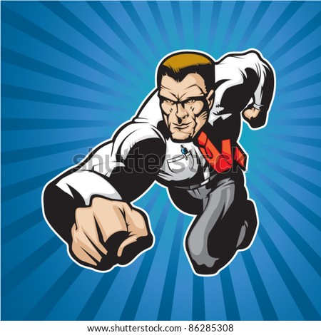 Lawyer or business man charging forward. - stock vector
