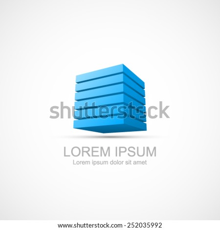 Layered blue cube icon. Easy to change color for each layer. - stock vector