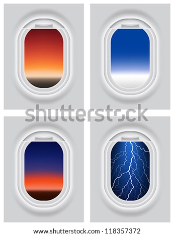 Layered vector illustration of Aircraft's Porthole with different view. - stock vector