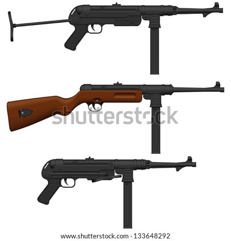 Layered vector illustration of antique German  Machine Pistol. - stock vector