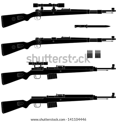 Layered vector illustration of antique Germany Rifle. - stock vector