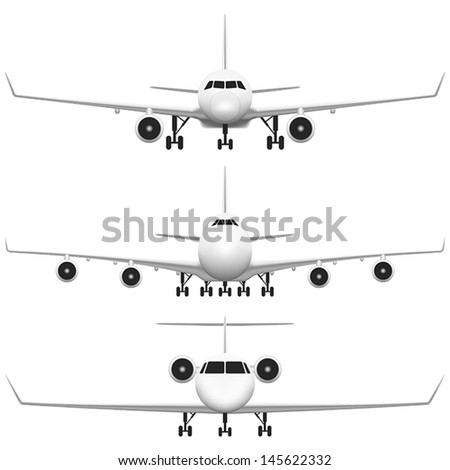 Layered vector illustration of collected Commercial Airplane. - stock vector