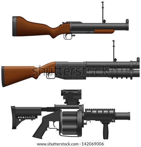 Layered vector illustration of collected Grenade Launcher. - stock vector