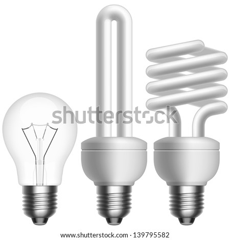 Layered vector illustration of collected Light Bulbs. - stock vector