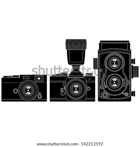 Layered vector illustration of collected Old Cameras.