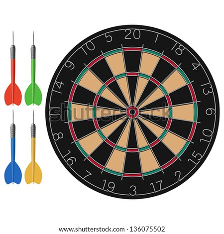 Layered vector illustration of Dart and Dartboard. - stock vector