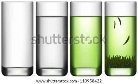 Layered Vector Illustration Of Empty Glass, Glass Of Water and Glass Of Green Tea. - stock vector