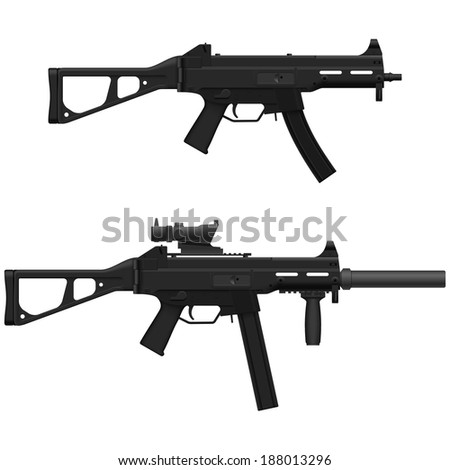 Layered vector illustration of Machine Pistol. - stock vector