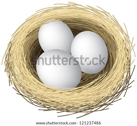Layered vector illustration of nest eggs. - stock vector