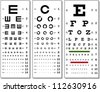 Layered Vector Illustration Of Three Kinds Of Eye Chart. - stock photo