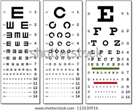 Layered Vector Illustration Of Three Kinds Of Eye Chart. - stock vector