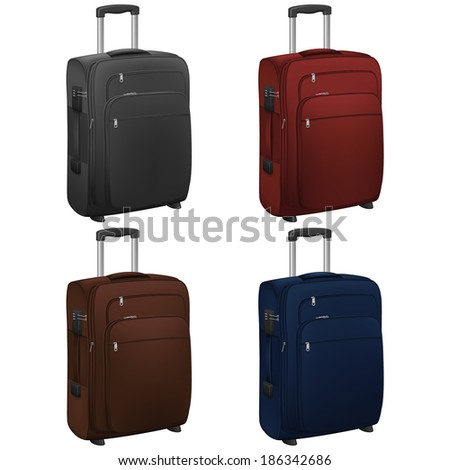 Layered vector illustration of Trolley Case with different color. - stock vector